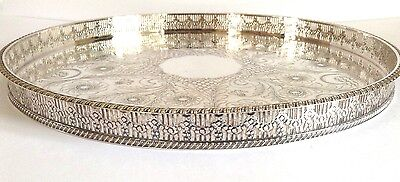 Vintage Round Silver Plate Galleried Serving Tray - Viners - Sheffield - No20