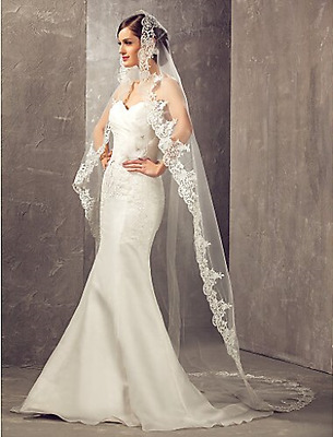 Aukmla One Tier Cathedral Wedding Bridal Veils with Lace Edge Ivory