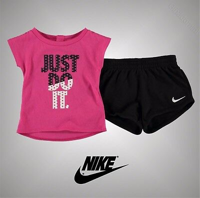 New Baby Girls Branded Nike Summer Racer And Short Set Tracksuit Size 3-24 Mnth
