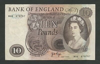 BANK OF ENGLAND - QEII  Page  £10  M-Replacement  B327  About EF ( Banknotes )