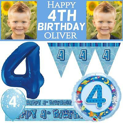 Age 4 Blue Happy Birthday Boys Party Decorations 4th Banner Bunting Balloons