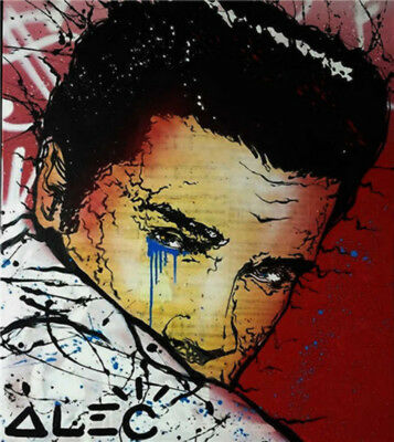 Alec Monopoly Oil Painting on Canvas Urban art wall decor Elvis Presley 24
