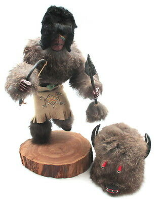 Vintage American Indian Wooden Kachina Doll Figurine  Buffalo Signed 14""