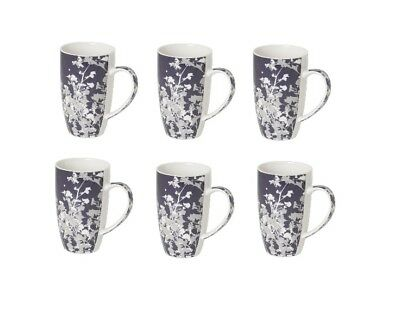 Sabichi Set of 6 Coffee Tea Cup Floret Hot Drink Handle Porcelain Mug 107497_I