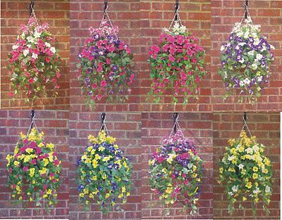 "M/g ( 12""basket X 16""spread ) Ready To Hang Artificial Hanging Basket & Flowers"