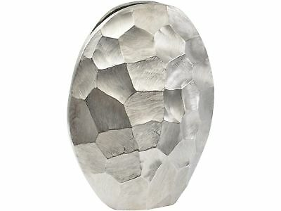 Libra Brockley Faceted Silver Aluminium Oval Vase Chiseled Faceted Detailing