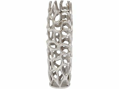 Libra Silver Coral Cage Vase Textured Aluminium Mini Ornament Sculpture 52cm