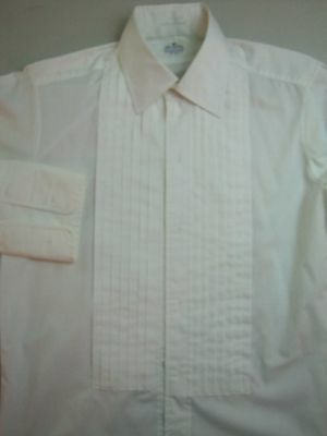 Vintage 70's LION OF TROY 15 - 32 TUXEDO Formal Shirt Mens FRENCH CUFF Pleated