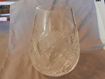 "American Brilliant Period Deep Cut Crystal Vase Thatched Pattern 10"" Tall (M)"