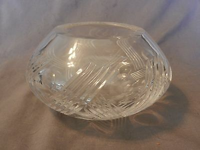 "American Brilliant Period Deep Cut Crystal Vase Thatched Pattern 3.75"" Tall (M)"