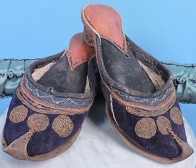 Museum Deaccession 19Th C Ethnic Leather Shoes W Hand Embroidered Detail