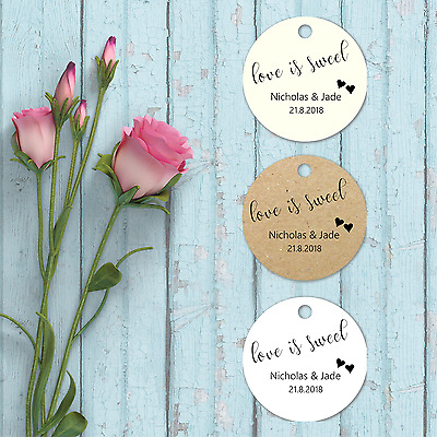 Personalised Small Circle / Round Wedding Favour Tags Love is Sweet