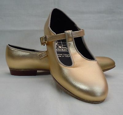 NIB!! Tic Tac Toes Heather Square Dance Shoe, Gold
