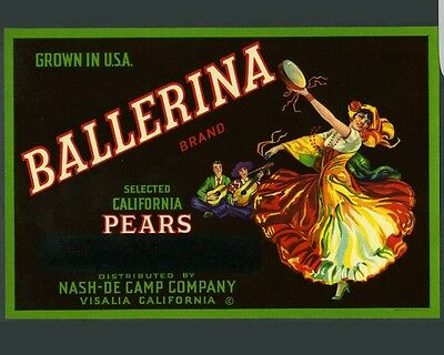 5 Ballerina Spanish Dancer~Vintage 1930 Visalia California Fruit Crate Label