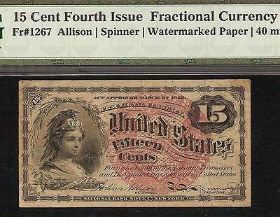 15 CENT UNITED STATES FRACTIONAL CURRENCY NOTE PAPER MONEY Fr 1267 PMG GRADED