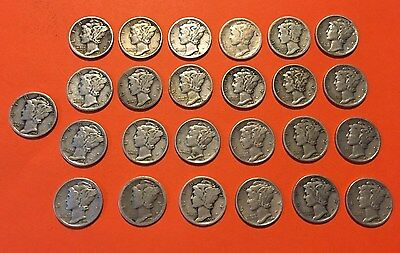 """Nice Mercury Dime Lot of 25/ All """"D"""" Mint Marks/ Mixed Dates"""