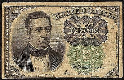 10 CENT FRACTIONAL CURRENCY GREEN SEAL MEREDITH NOTE OLD PAPER MONEY Fr 1264