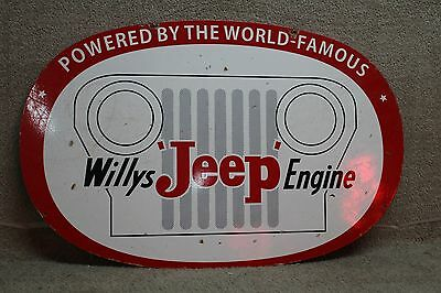 Scarce Willys Jeep Engine 2-Sided Dealer Heavy Metal  Sign Gas Oil Coke
