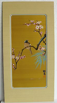 Fine Old Chinese Bird on Cherry Blossom Branch Silk Painting Artist SIGNED