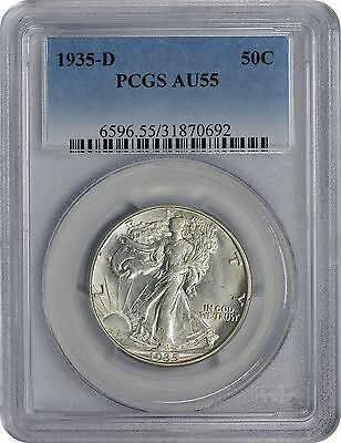 1935-D Walking Liberty Half AU55 PCGS Almost Uncirculated 55