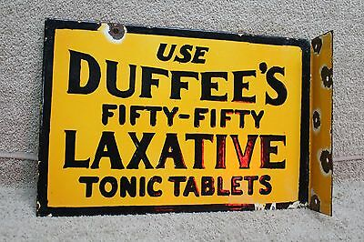 Duffee's Fifty-Fifty Laxative Tonic Porcelain 2-Sided Flange Metal Sign Gas Oil