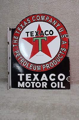 Large Texaco Motor Oil Texas Gas  Porcelain 2-Sided Flange Metal Sign Gas