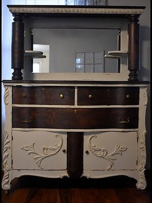 Antique Oak Sideboard With Pillars And Mirror