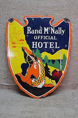 Rand McNally OFFICIAL HOTEL 2-SIDED PORCELAIN SIGN INDIAN ARROWHEAD IH
