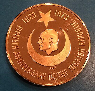 50th Anniversary Of Turkish Republic Turkey K. Ataturk Coin Medal