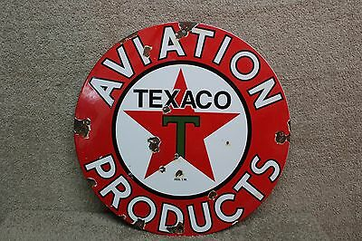 Texaco Aviation Products Porcelain Metal Pump Sign Gas Oil Service Garage