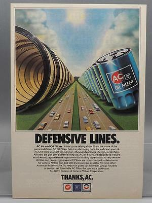 Vintage Magazine Ad Print Design Advertising AC Delco Air & Oil Filters