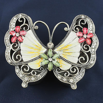 BUTTERFLY Trinket Box Pewter Jewelled Crystals Pink Cream Green Lift lid 9cm New