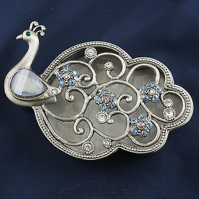 PEACOCK Trinket Box Pewter Jewelled Crystals Pink Blue Green Lift off lid 9cmNew