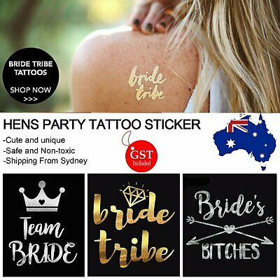 1x New Hens Party Temporary Tattoo Sticker Bride Team Tribe Metallic Tattoos DIY