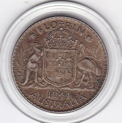 Sharp 1944  Australia  King  George  VI  Florin  (2/-)  Sterling   Silver  Coin