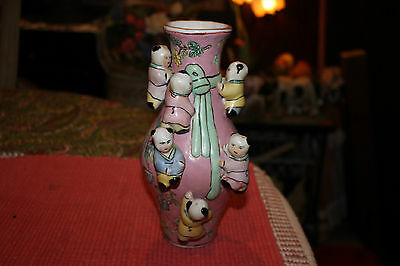 Chinese Flower & Butterfly Vase W/Children Climbing On Vase-Colorful Vase