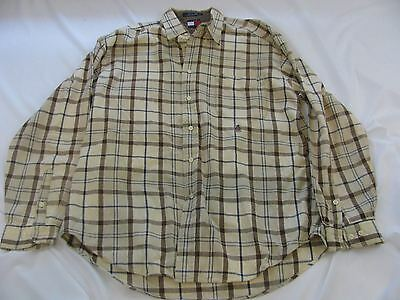 Tommy Hilfiger Brown/Blue Plaid Long Sleeve Button Front Mens Shirt Size Large