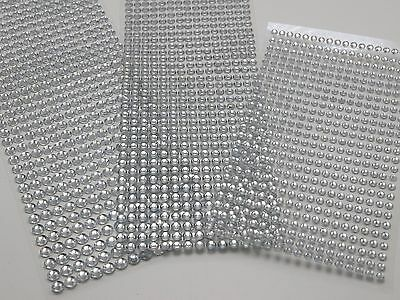 3 Sheets Clear 4mm,5mm,6mm Round Self-Adhesive Acrylic Rhinestones Stickers
