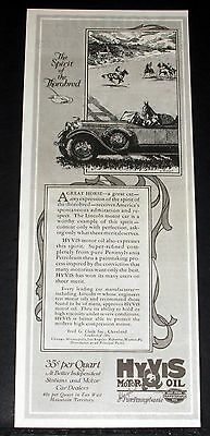 1928 Old Magazine Print Ad, Hyvis Motor Oil, The Spirit Of The Thorobred, Art!