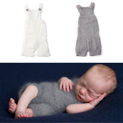 Infant Newborn Baby Knitted Mohair Rompers Overalls Props Photography Outfits