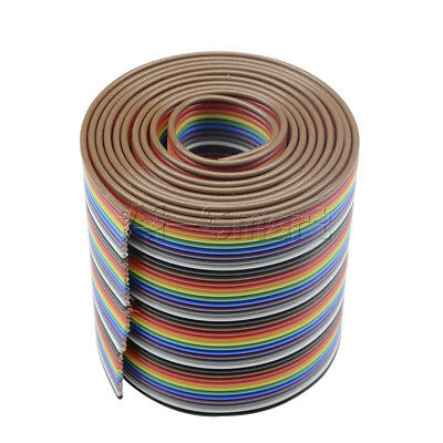 1M 3.3ft 40 Way 40 pin Flat Color Rainbow Ribbon IDC Cable Wire Rainbow Cable AS