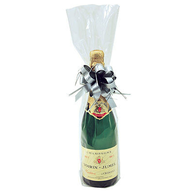Pack of 20 Clear Cellophane Bottle Bags for Wine Champagne Bottles Gift bags