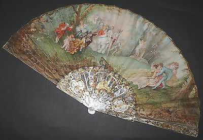 Superb Large Antique French Mother Of Pearl Gold Inlay Hand Painted Scene Fan