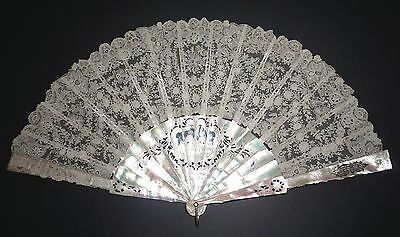 Superb Antique French Figural Hand Carved Mother Of Pearl Brussels Lace Fan
