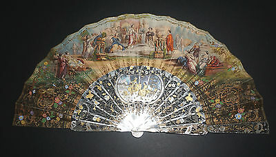 Fine Antique French Gold Inlay Mother Of Pearl Cleopatra Court Figural Scene Fan