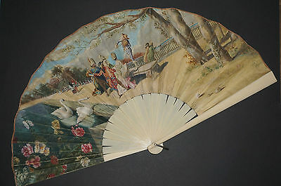 Superb Large Antique French Art Nouveau Hand Painted Carnival Erotic Scene Fan