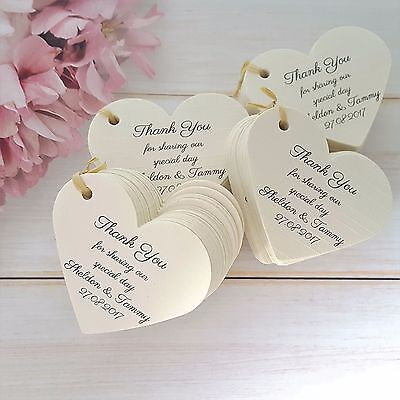 Personalised Wedding Favour Tags Heart Thank You Special Day Ivory Linen Card