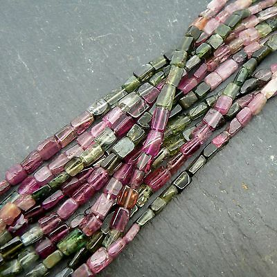 "Multi Tourmaline Rectangle Beads 15"" Strand Semi Precious Gemstone"