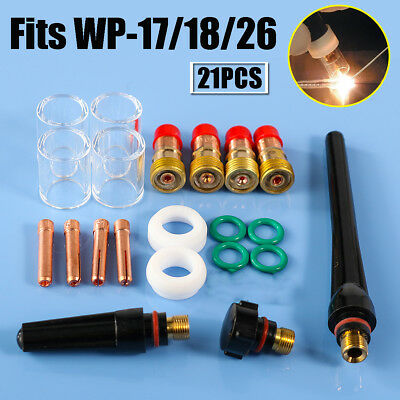 21pcs TIG Welding Stubby Gas Lens Pyrex Cup Collet Kit For Tig WP-17/18/26 Torch