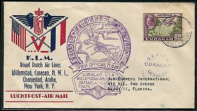 Curacao 1943 First Flight cover to USA with Curacao censor
